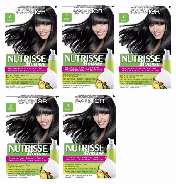 LOT-OF-5-GARNIER-NUTRISSE-NOURISHING-COLOR-FOAM-2-SOFT-BLACK-HAIR-COLOR-302575485659